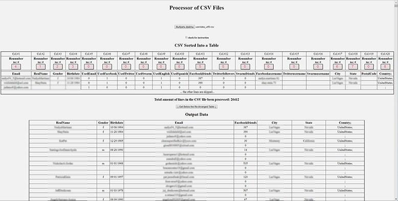 CSV data processing
