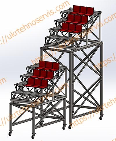 Металлоконструкция трибуны -модель